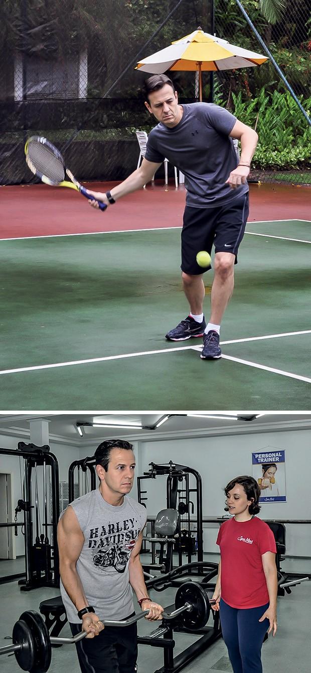 Celso Zucatelli joga tênis e faz musculação com ajuda da personal  trainer Lana Molina  (Foto:  )