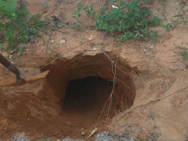 Túnel encontrado em Alcaçuz nesta quinta-feira, dia 2. (Foto: Divulgação / Força Nacional)