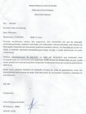 Laudo médico do paciente Vitor Andrade (Foto: Arquivo Pessoal)