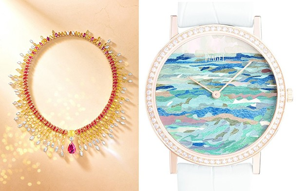 Left: Piaget's Sunlight Journey Sunburst necklace in 18-carat red, pink and yellow gold and platinum set with a pear-shaped red spinel from Tanzania and a yellow diamond, red spinels, yellow diamonds and diamonds; Right: Infinite Waves watch dial made of wood, mother-of-pearl and parchment marquetry and 18-carat pink gold set with 78 brilliant-cut diamonds. It's one of a limited edition of eight pieces. (Foto: PIAGET )