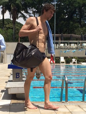 Michael Phelps treinando em São Paulo (Foto: Divulgação)