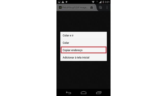 Destaque para opção de copiar endereço do GIF (Foto: Reprodução/Raquel Freire)