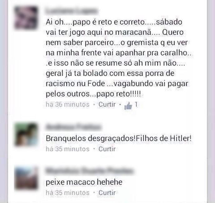 Torcedores do Flamengo manda recado para os gremistas (Foto: Reprodução/ Facebook)