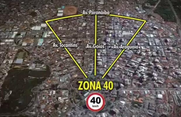 Velocidade deve ser reduzida no contorno de principais avenidas do centro (Foto: Reprodução/TV Anhnaguera)