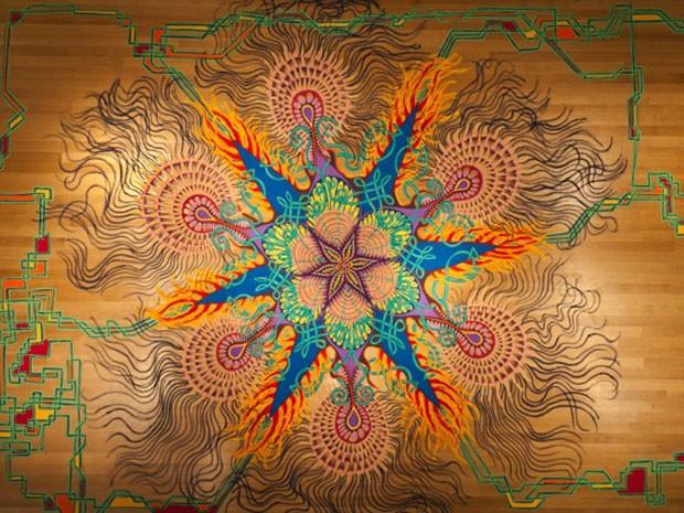 Obra de arte com areia colorida de Joe Mangrum (Foto: Joe Mangrum/Divulgação)