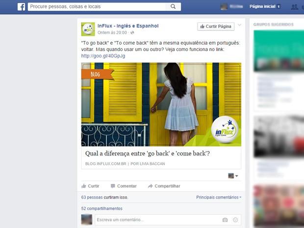 Especialista diz que postar conteúdo sem propaganda direta pode ser uma boa forma de se aproximar do púiblico alvo. Página de rede de escolas de idiomas faz posts com dicas de inglês e espanhol (Foto: Reprodução/Facebook)
