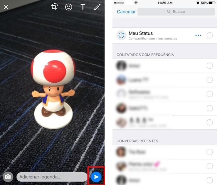 Escolha para onde deseja enviar a foto ou vídeo no WhatsApp para iPhone (Foto: Reprodução/Aline Batista)