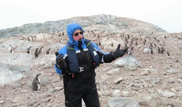Cantor de ópera Nick Allen assustou pinguins ao realizar performance na Antártica (Foto: Reprodução/YouTube/Nick Allen)