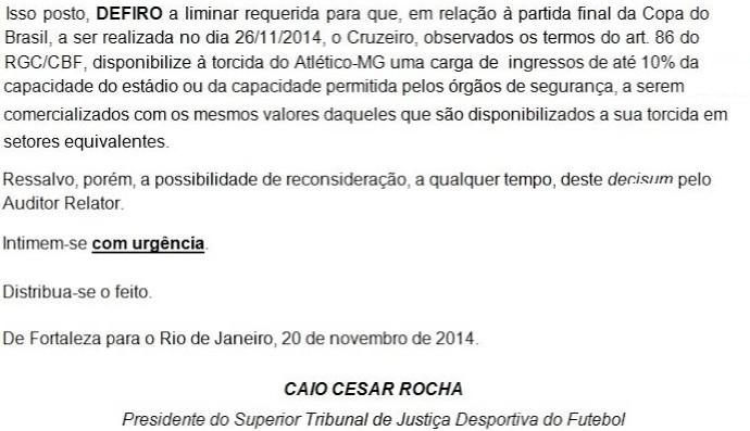 Liminar carga de ingressos Cruzeiro e Atlético-MG (Foto: Reprodução)