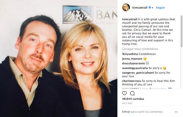 O post no qual Kim Cattrall tornou público a morte do irmão e no qual recebeu o apoio de Sarah jessica Parker (Foto: Instagram)