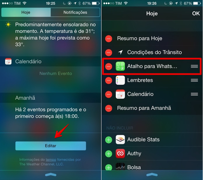 Adicionar WhatsApp à central de notificações (Foto: Helito Bijora / TechTudo)