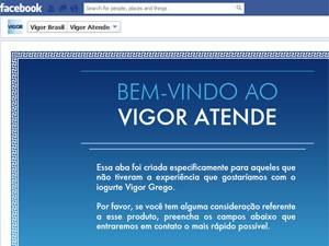 Vigor criou aba no Facebook para atendimento sobre problemas com o iogurte grego (Foto: Reprodução)