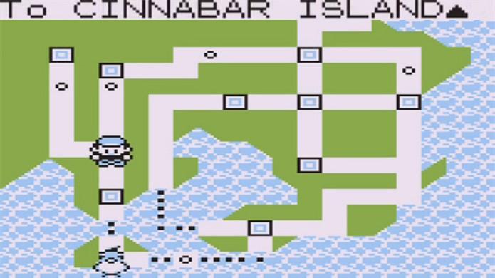 Após o tutorial do velho use um Pokémon com Fly pra voar até Cinnabar (Foto: Reprodução/YouTube)