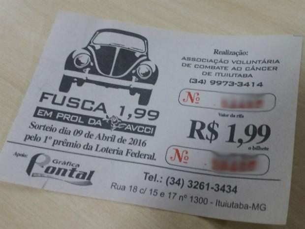 Bilhete Ituiutaba (Foto: Fernanda Resende/G1)