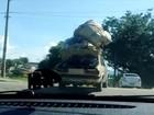 Internauta flagra carro com excesso de carga em viaduto de São José, SP