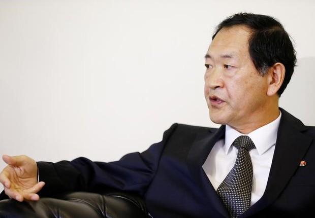 Embaixador da Coreia do Norte na ONU, Han Tae Song, durante entrevista com a Reuters em Genebra, na Suíça (Foto: Pierre Albouy/Reuters)