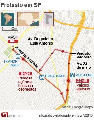Mapa mostra trajeto percorrido pelos manifestantes nesta sexta-feira (26) (Foto: Arte/G1)