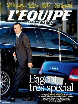 reprodução capa revista l'équipe jorge mendes (Foto: Reprodução / Revista L'équipe)