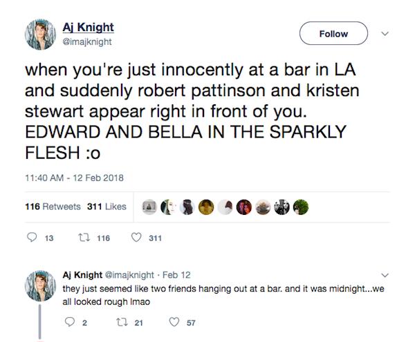 O relato do ator que alega ter visto Robert Pattinson e Kristen Stewart juntos em um bar de Los Angeles (Foto: Twitter)