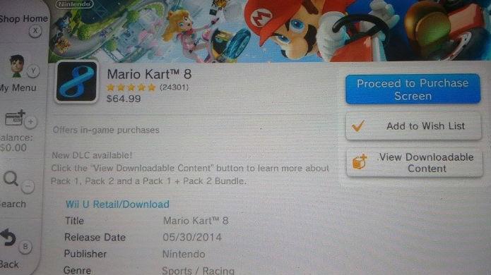 É nessa tela da eShop que você compra os DLC de Mario Kart 8 (Foto: Reprodução/Thomas Schulze)