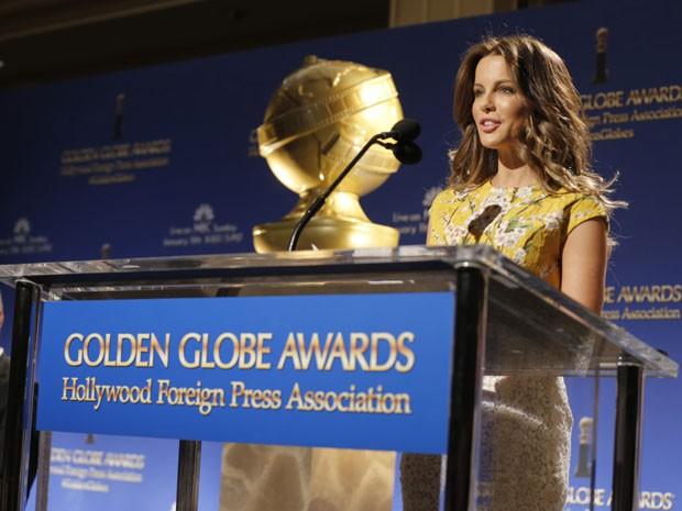 A atriz Kate Beckinsale anuncia, nesta quinta-feira (11), indicados do Globo de Ouro 2015, em evento no Beverly Hills Hotel, em Bervelly Hills, Califórnia (Foto: Todd Williamson/Invision/AP)