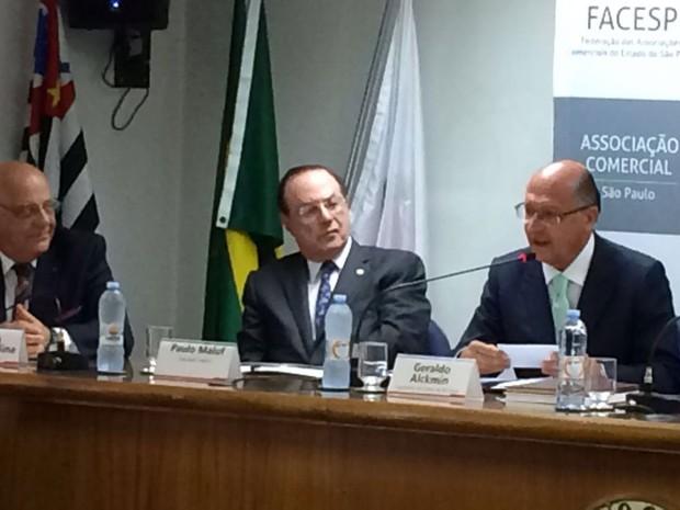 Governador de São Paulo Geraldo Alckmin (dir.) durante evento em São Paulo  (Foto: Tatiana Santiago/G1)