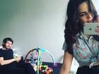 Tainá Muller 'concentra' família  em camarim nos de bastidores de filme