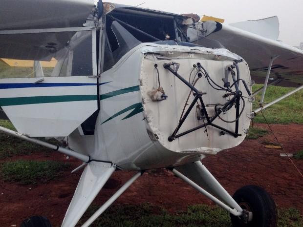 Temporal danificou aviões estacionados no Aeroclube de Sorocaba (Foto: Arquivo pessoal)