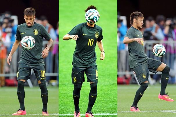 Neymar no último treino da Seleção antes da estreia do Brasil na Copa do Mundo FIFA 2014 (Foto: Jefferson Bernardes / Vipcomm e Marcos Ribolli / globoesporte.com)