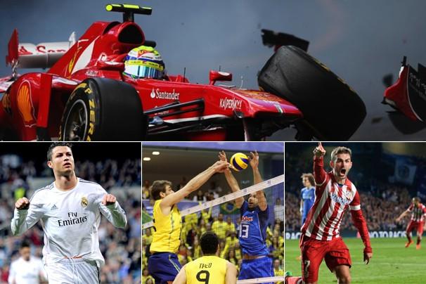 Fórmula 1, futebol e vôlei masculino na programação esportiva da Globo deste fim de semana (Foto: Divulgação e globoesporte.com)