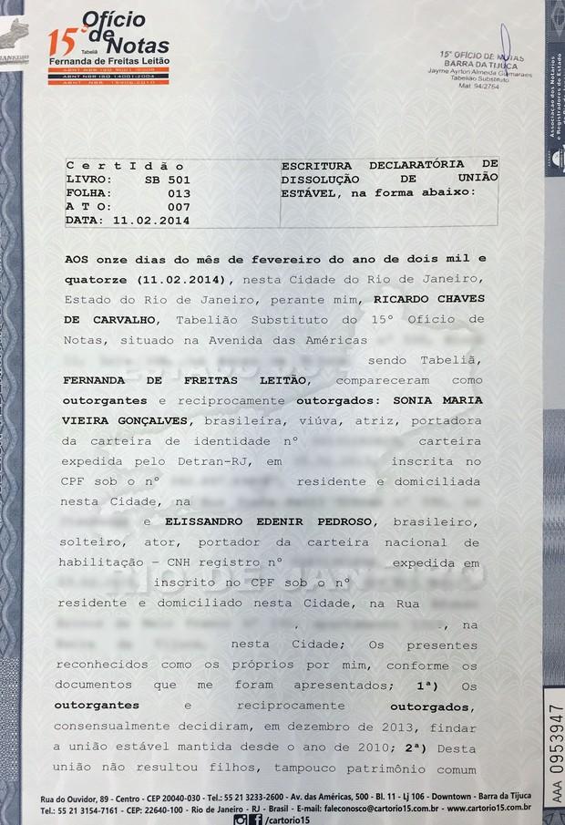 Documento união estável Susana Vieira e Sandro Pedroso (Foto: Reprodução)