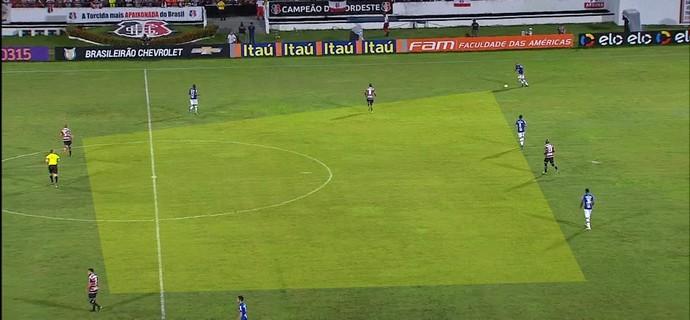 Compacatação do Cruzeiro não existiu em grande parte do jogo contra o Santa Cruz (Foto: GloboEsporte.com)