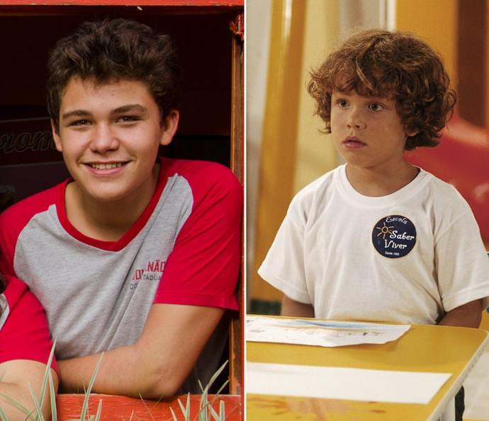Gabriel Kaufmann atualmente, aos 14 anos e na época de Páginas da Vida, com apenas 4 aninhos (Foto: TV Globo)