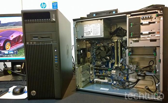 Interior de uma das workstations (Foto: Fabrício Vitorino / TechTudo)