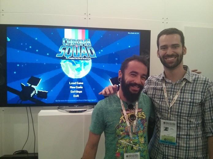 Alberto Souza (Betu) e Saulo Camarotti da Behold Studios, de Chorma Squad. (Foto: Reprodução/ Emanuel Schimidt)
