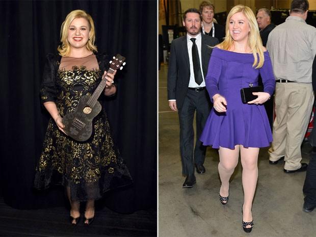 Kelly Clarkson em premiação em Nova York, nos Estados Unidos, e em abril de 2013 (Foto: Getty Images)