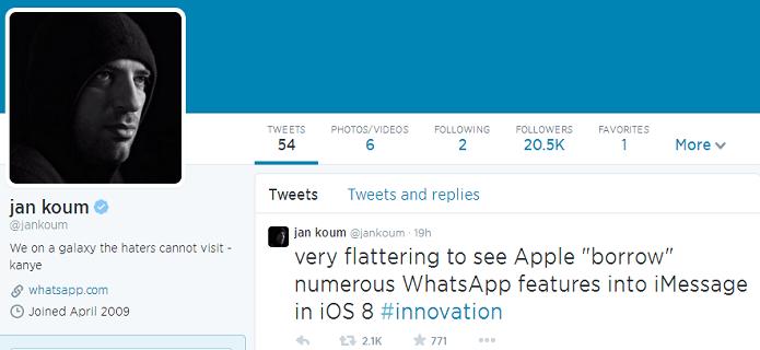 CEO do WhatsApp criticou a Apple (Foto: Reprodução/Twitter)