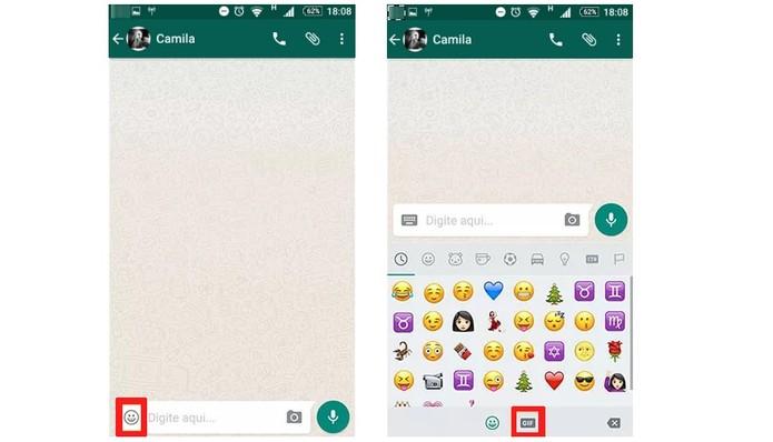 Agora também é possível enviar GIFs pelo Android (Foto: Reprodução/Camila Peres)