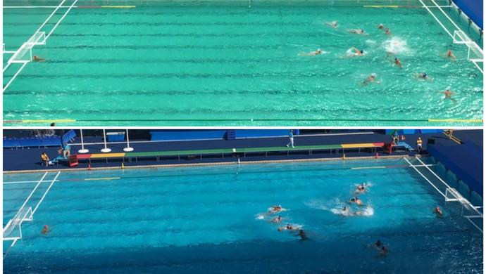 Piscina de polo aquático do Maria Lenk; compare fotos desta quarta-feira com a de terça (Foto: Tiago Leme)