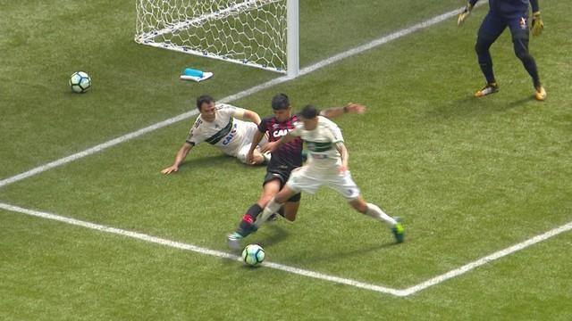 p  Coritiba fica reclamando de uma penalidade em Rildo no lance anterior.  Daronco e72af3ac78ac6