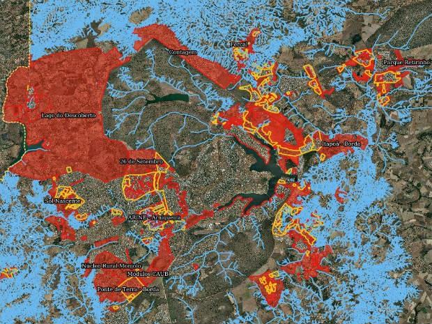 No mapa da Agefis, áreas em vermelho mostram onde não pode haver nenhum tipo de ocupação; material está disponível no site (Foto: Agefis/Reprodução)
