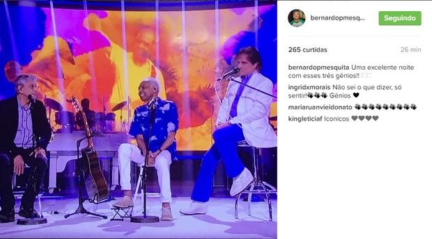 Bernardo Mesquita fala sobre Roberto Carlos e convidados (Foto: Reprodução/Instagram)
