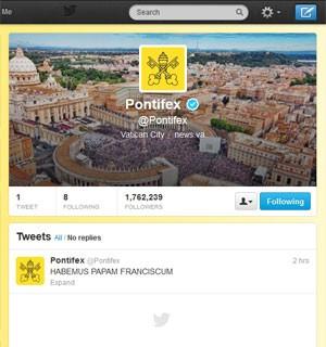Mensagem no perfil @Pontifex do Twitter recebeu 50 mil retuítes (Foto: Reprodução)