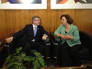 O presidente da Câmara, Marco Maia, e a ministras das Relações Institucionais, Ideli Salvatti, em reunião nesta terça-feira (30) (Foto: Iara Lemos/G1)