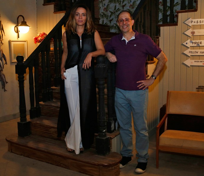 Suzana Pires e Júlio Fischer acompanharam tudo com o elenco de 'Sol Nascente' (Foto: Raphael Dias / Gshow)
