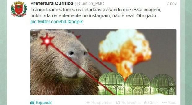 Páginas na internet da Prefeiturade Curitiba brinca com temas locais (Foto: Reprodução/ Twitter)
