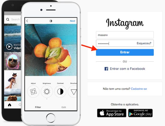 Tela de login do Instagram Web (Foto: Reprodução/Marvin Costa)