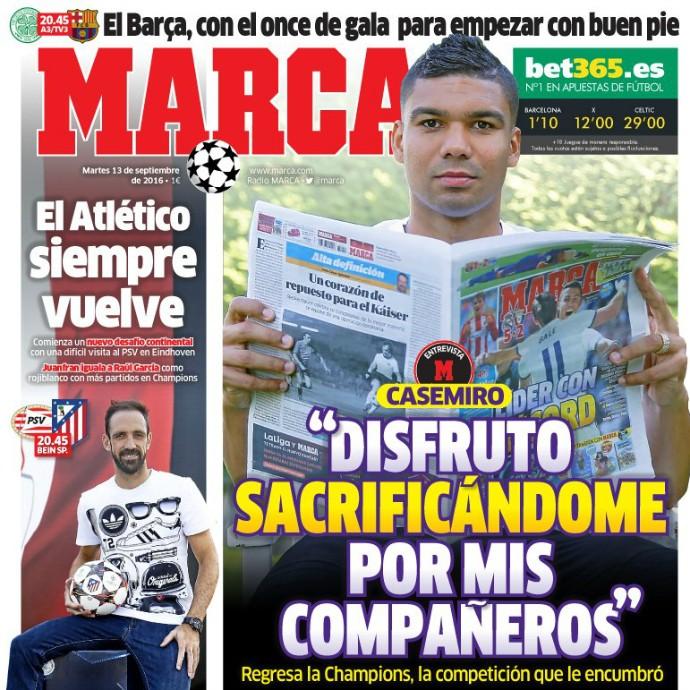 """BLOG: Capa de jornal em Madri, Casemiro exalta """"sacrifício"""" por companheiros no Real"""