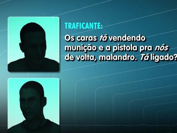 Em um dos áudios, criminoso diz que policiais querem vender armas apreendidas de volta (Foto: G1)