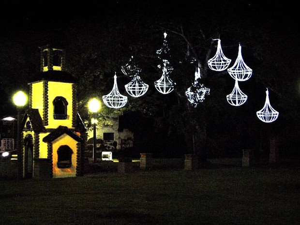 Árvores recebem iluminação especial para Natal em Poços de Caldas. (Foto: Marcelo Abuchalla)